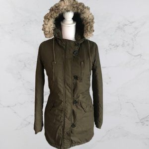 American Eagle army green hooded winter jacket, XS